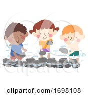 Kids Make Stone Dam Illustration
