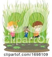 Poster, Art Print Of Kids Marsh Play Grass Illustration