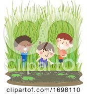 Kids Marsh Spartina Cordgrass Play Illustration