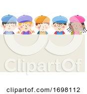 Poster, Art Print Of Kids Painters Caps Apron Board Illustration