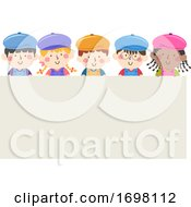 Kids Painters Caps Apron Board Illustration