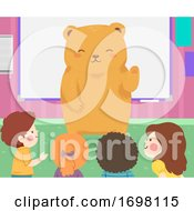 Kids Students Bear Hello Classroom Illustration