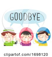 Kids Muslim Wave Goodbye Illustration