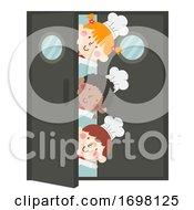 Kids Chefs Door Wave Illustration