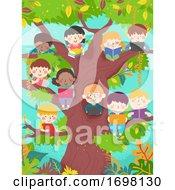 Kids Individual Study Book Laptop Illustration
