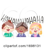 Kids Laughing Friends Illustration