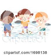 Kids Stream Water Catch Fish Illustration