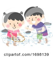 Poster, Art Print Of Kids Stream Collecting Items Illustration