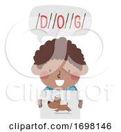 Poster, Art Print Of Kid Boy Black Segment Word Illustration