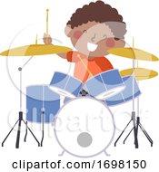 Poster, Art Print Of Kid Boy Drum Practice Kid Activity Illustration
