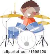 Kid Boy Drum Practice Kid Activity Illustration