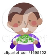 Poster, Art Print Of Kid African Boy Broccoli Super Food Illustration