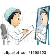 Kid Boy Muslim Draw Self Mirror Illustration