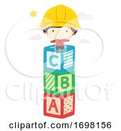 Kid Boy Hard Hat Sit Toy Blocks Illustration