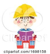 Kid Boy Hard Hat House Read Book Illustration