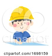 Kid Boy Hard Hat Draw Blueprint Illustration