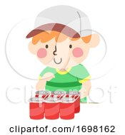 Kid Boy Six Pack Container Quantities Illustration