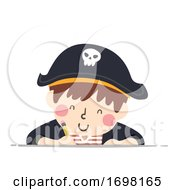 Kid Boy Pirate Write Pencil Illustration