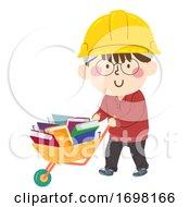 Kid Boy Construction Wheelbarrow Illustration