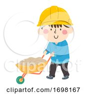 Kid Boy Construction Wheelbarrow Illustration