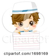 Kid Boy Muslim Paper Hold Pencil Illustration