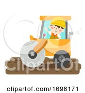 Kid Boy Construction Road Roller Illustration