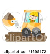 Kid Boy Construction Excavator Illustration