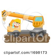 Kid Boy Construction Crane Truck Illustration
