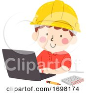 Kid Boy Construction Engineer Laptop Illustration