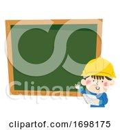 Kid Boy Construction Engineer Notes Illustration