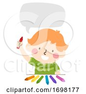Kid Boy Colors Speech Bubble Illustration