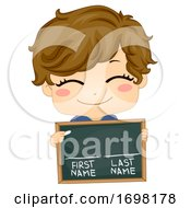 Kid Boy Chalkboard First Last Name Illustration