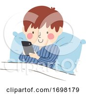 Kid Boy Bed Cell Phone Illustration