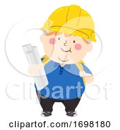 Kid Boy Construction Engineer Student Illustration