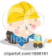 Poster, Art Print Of Kid Baby Boy Hard Hat Play Toy Illustration