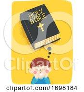 Kid Boy Think Bible Illustration