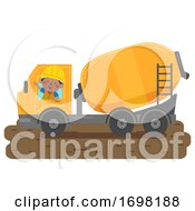 Poster, Art Print Of Kid Boy Construction Concrete Mixer Illustration