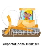 Poster, Art Print Of Kid Boy Construction Bulldozer Illustration