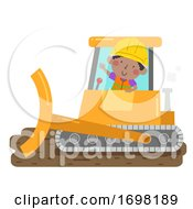 Kid Boy Construction Bulldozer Illustration