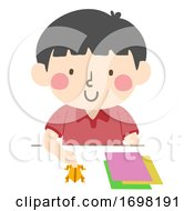 Kid Boy Paper Frog Race Make Illustration