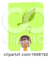Kid Boy Think Leaf Botany Lab Gown Illustration