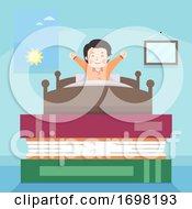 Poster, Art Print Of Teen Guy Wake Up Books Illustration