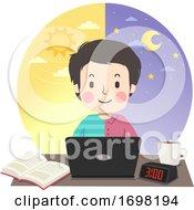 Teen Guy Study Morning Night Illustration