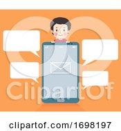 Teen Guy Phone Message Speech Bubbles Illustration