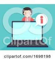 Teen Guy Laptop Information Illustration
