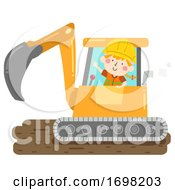 Kid Girl Construction Back Hoe Illustration
