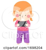Poster, Art Print Of Kid Girl Cant Stop Playing Cellphone Pee