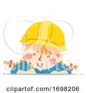 Kid Girl Construction Engineer Write Illustration