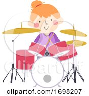 Kid Girl Drum Practice Kid Activity Illustration
