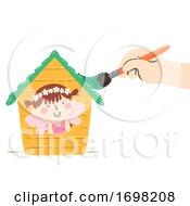 Kid Girl Fairy House Hand Paint Illustration